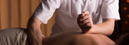 Physiotherapist during work