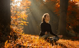 A young woman make yoga position at sunrise. in the autumn forest