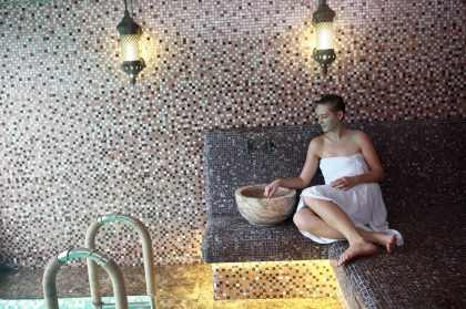 Woman resting in hammam