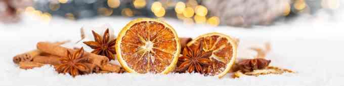 Weihnachten Weihnachtsdeko Weihnachtsdekoration Orange Banner Dekoration Winter Schnee